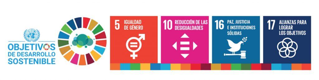Imagen que muestra el 5, 10, 16 y 17 objetivos de desarrollo sostenible.
